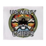 US Navy Chiefs Skull Throw Blanket