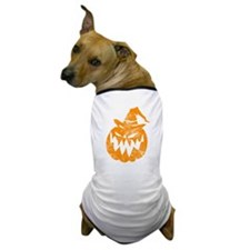 Grunge Pumpkin in Hat Dog T-Shirt