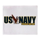 Navy Sister Throw Blanket