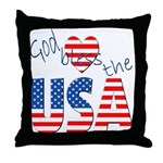 God Bless the USA Throw Pillow