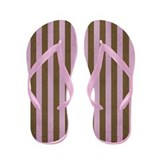 Pink And Brown Stripe Flip Flops