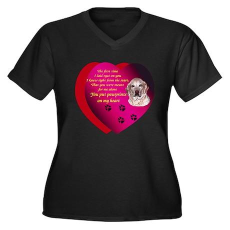 Pawprints 2 Women's Plus Size V-Neck Dark T-Shirt
