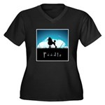 Nightsky Poodle Women's Plus Size V-Neck Dark T-Sh