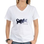 Running Huskies Women's V-Neck T-Shirt