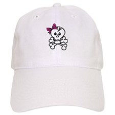 Skull with Pink Bow Baseball Cap