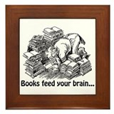 Books Feed Your Brain Framed Tile