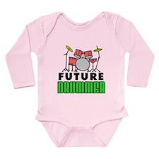 Future Drummer (Pink) Long Sleeve Infant Bodysuit