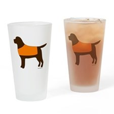 Chocolate Lab - Orange Vest Drinking Glass