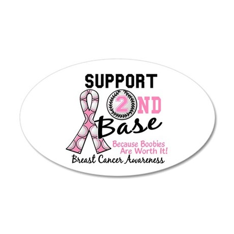 Second 2nd Base Breast Cancer 22x14 Oval Wall Peel