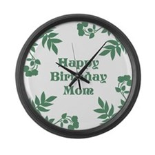 Mom Birthday, Green. Large Wall Clock