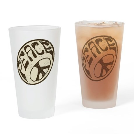 Retro Vintage Peace Sign Drinking Glass