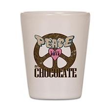 Peace Love and Chocolate Shot Glass
