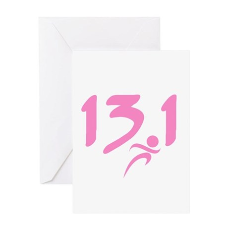 Pink 13.1 half-marathon Greeting Card