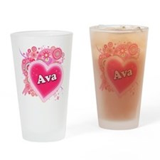Ava Heart Art Drinking Glass