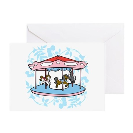 Carousel Pink and Blue Greeting Card