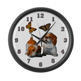 Butterfly's and Puppy's Large Wall Clock
