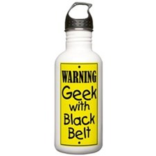 Warning Geek w/Black Belt Sports Water Bottle
