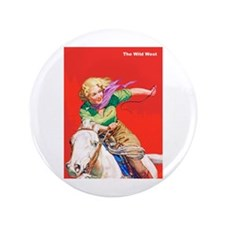 "Wild West Cowgirl on White Horse 3.5"" Button"