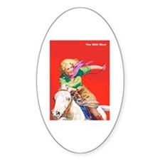 Wild West Cowgirl on White Horse Decal