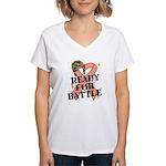 Ready Battle Uterine Cancer Women's V-Neck T-Shirt