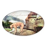 Castle Greyhound Sticker (Oval 10 pk)