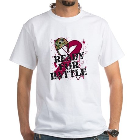 Battle Throat Cancer White T-Shirt