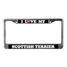 I Love My Scottish Terrier License Plate Frame