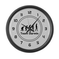 Team Darwin (silver) Large Wall Clock