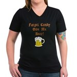 Forget Candy Women's V-Neck Dark T-Shirt