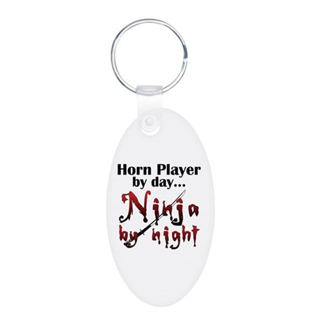 French Horn Ninja Aluminum Oval Keychain