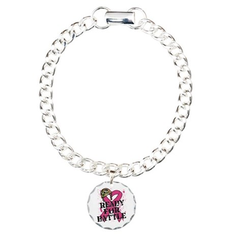 Battle Breast Cancer Charm Bracelet, One Charm