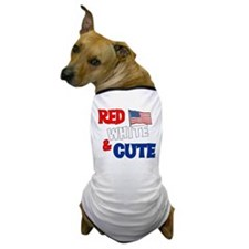 Red white and cute Dog T-Shirt