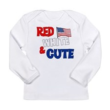 Red white and cute Long Sleeve Infant T-Shirt