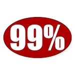 Red 99 percent oval bumper sticker