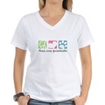 Peace, Love, Aussiedoodles Women's V-Neck T-Shirt