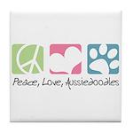 Peace, Love, Aussiedoodles Tile Coaster