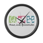 Peace, Love, Aussiedoodles Large Wall Clock