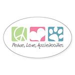 Peace, Love, Aussiedoodles Sticker (Oval 10 pk)