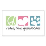 Peace, Love, Aussiedoodles Sticker (Rectangle 10 p