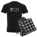 Peace, Love, Malti Tzus Men's Dark Pajamas
