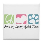 Peace, Love, Malti Tzus Tile Coaster