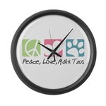 Peace, Love, Malti Tzus Large Wall Clock