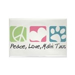 Peace, Love, Malti Tzus Rectangle Magnet (10 pack)