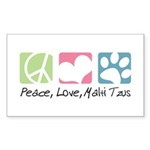 Peace, Love, Malti Tzus Sticker (Rectangle)