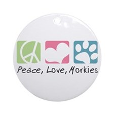 Peace, Love, Morkies Ornament (Round)