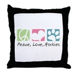 Peace, Love, Morkies Throw Pillow