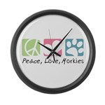 Peace, Love, Morkies Large Wall Clock
