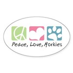 Peace, Love, Morkies Sticker (Oval 10 pk)