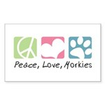 Peace, Love, Morkies Sticker (Rectangle 10 pk)