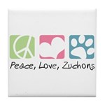 Peace, Love, Zuchons Tile Coaster